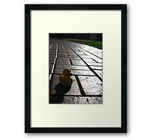 Yellow Rubber Duck On A Red Brick Road Framed Print