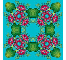 Psychedelic jungle kaleidoscope ornament 6 Photographic Print