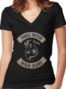 Sons of Anfield - You'll Never Walk Alone Women's Fitted V-Neck T-Shirt