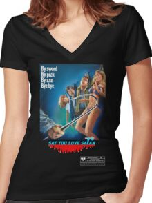 Say You Love Satan 80s Horror Podcast - Mutilator Women's Fitted V-Neck T-Shirt