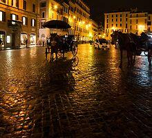 Golden Glow - Night on the Spanish Steps Piazza in Rome, Italy by Georgia Mizuleva