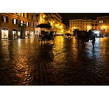 Golden Glow - Night on the Spanish Steps Piazza in Rome, Italy Photographic Print