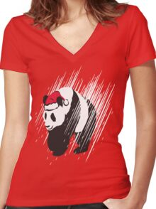 A Panda Christmas  Women's Fitted V-Neck T-Shirt
