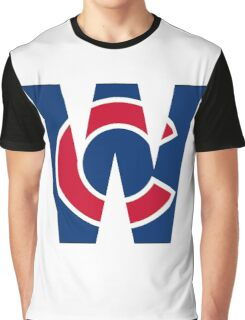 Cubs W Chicago Cubs W with Red/Blue C Graphic T-Shirt