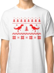 Christmas ugly sweater pattern dinosaur Classic T-Shirt