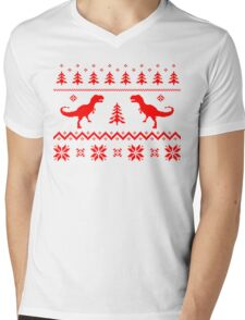 Christmas ugly sweater pattern dinosaur Mens V-Neck T-Shirt