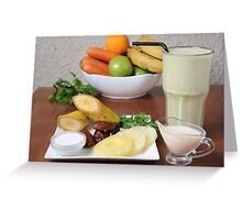 Organic Health Food meal. Fruit, vegetables and a shake drink  Greeting Card