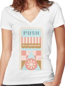 Small World Trash Can Design Women's Fitted V-Neck T-Shirt