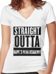 straight outta hope's peak academy Women's Fitted V-Neck T-Shirt
