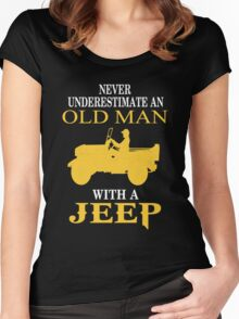 Never underestimate an old man with a jeep T-shirt Women's Fitted Scoop T-Shirt