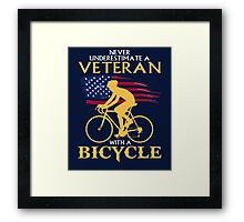 Never underestimate a veteran with a bicycle T-shirt Framed Print