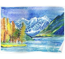 Watercolor mountains winter or autumn landscape. Shavlinskie lakes. Altai. Poster