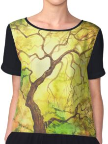 Watercolor autumn tree. Chiffon Top