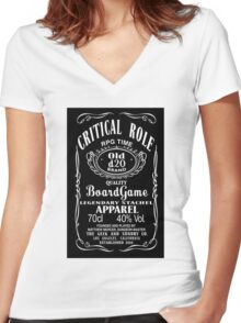 critical role black logo Women's Fitted V-Neck T-Shirt