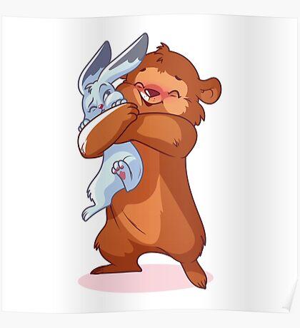 Cute bear hugs rabbit. Poster