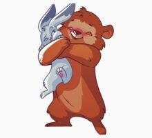 Cute bear hugs rabbit. Kids Tee