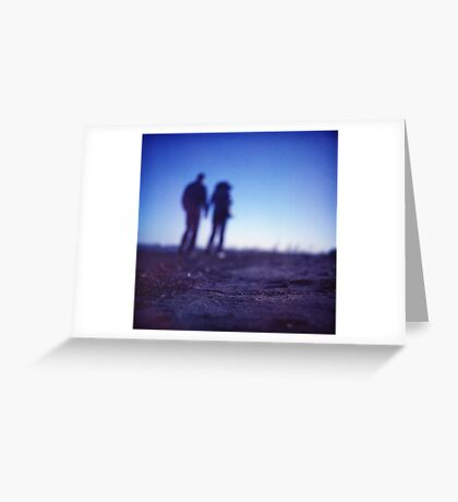 Romantic couple walking holding hands on beach in blue Medium format color negative film photo Greeting Card