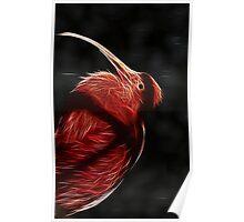 Red neon Bird Poster