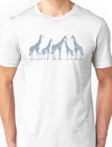 Navy Blue Giraffes on White Unisex T-Shirt