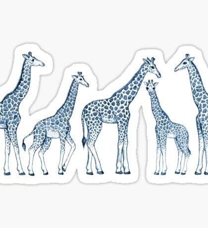 Navy Blue Giraffes on White Sticker