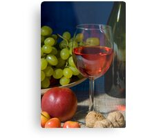 Classic still life featuring a colorful bowl of fruit and a wine bottle Metal Print