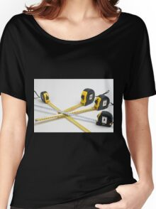 4 yellow and one unique white measuring tape on white background Women's Relaxed Fit T-Shirt