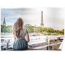 facing eiffel tower Poster