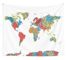 world map mandala 8 Wall Tapestry