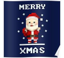 Retro Pixelart Santa Poster