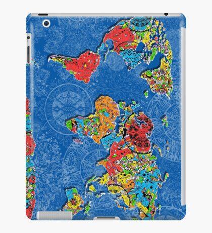 world map mandala blue iPad Case/Skin