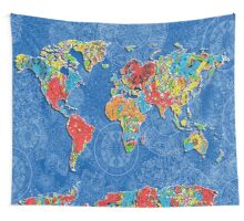 world map mandala blue Wall Tapestry