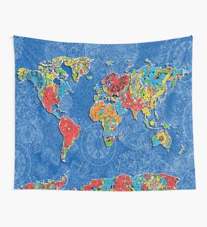 world map mandala blue Wall Tapestry