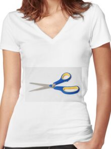 yellow and blue office scissors on white  Women's Fitted V-Neck T-Shirt