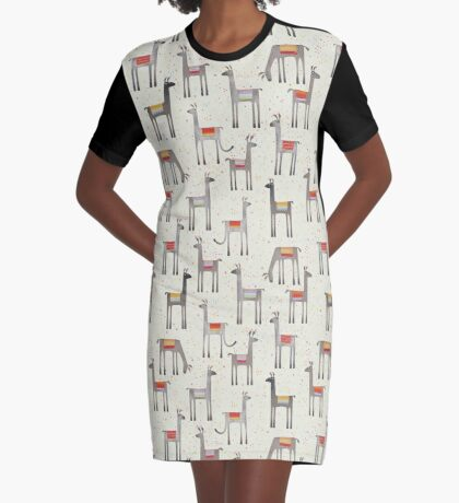 Llamas in the Meadow Graphic T-Shirt Dress
