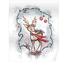 Creepy Cute Christmas Reindeer and Bat Poster