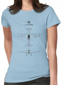 The P-51 Mustang Blueprint Womens Fitted T-Shirt