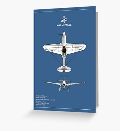 The P-51 Mustang Blueprint Greeting Card