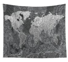 world map mandala black 2 Wall Tapestry