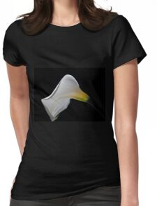 White Calla on a black background Womens Fitted T-Shirt
