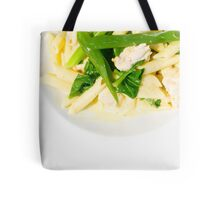 A serving of Penne pasta with cream sauce and greens Tote Bag