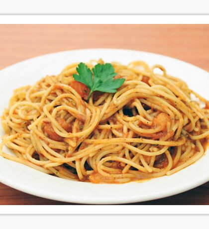 a plate of Spaghetti with tomato sauce  Sticker