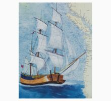 HMS Endeavour Tall Sailing Ship Nautical Map Cathy Peek Kids Tee