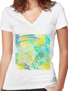 Abstract yellow green pattern Women's Fitted V-Neck T-Shirt
