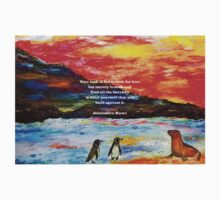 Inspirational Finding Your Love Quote With Penguins Painting  Kids Tee