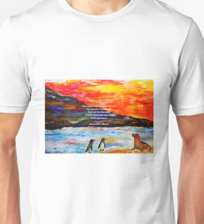 Inspirational Finding Your Love Quote With Penguins Painting  Unisex T-Shirt