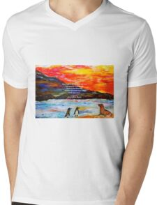 Inspirational Finding Your Love Quote With Penguins Painting  Mens V-Neck T-Shirt