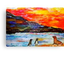 Inspirational Finding Your Love Quote With Penguins Painting  Canvas Print