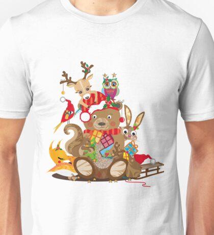 Tiere feiern Weihnachten Unisex T-Shirt