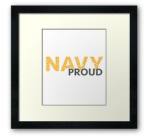 Navy Proud yellow distressed Framed Print