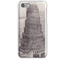 iPhone Case old print ornament embellishment 1884 babel tower iPhone Case/Skin